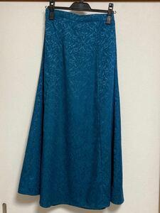 スカートグリーンブルー光沢レース調ロングスカート