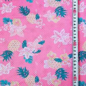 ハワイアン 花柄 メッシュニット 生地 布 はぎれ ハギレ メッシュ生地 夏 花 フラワー パイナップル パイン