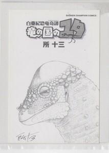 所十三 直筆サイン入りポストカード「白亜紀恐竜奇譚竜の国のユタ」 <検索ワード> セル画 複製原画 設定資料 絵画