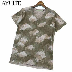 AYUITE アユイテ 切替★ ネイティブ 総柄 Vネック 半袖 カットソー Tシャツ Sz.2 メンズ 日本製 A1T04827_4#D