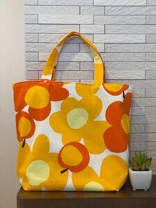 ハンドメイド 折り畳み エコバッグ トートバッグ 花柄 オレンジ