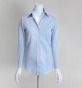 ORIAN ◆スタンダード レギュラーカラーシャツ ブルー サイズ36 コットン 長袖 ブラウス ビジネス オリアン イタリア製 ◆CE15