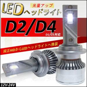 2021最新】1年保証 D2 / D4 D2S D2R D2C D4S D4R D4C D1 D3 H4 LEDヘッドライト ホワイト6000k バルブ 車検対応 12V 24V クラウン ハチロク