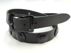 ◆ ロアー ROAR クロスガン 2丁拳銃 コンチョ レザー ベルト 2サイズ 黒 ブラック