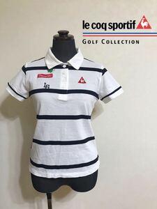 le coq sportif ルコック ゴルフ ウェア レディース トップス ドライ 鹿の子 ポロシャツ ボーダー サイズM 半袖 白 QGWLJA09 デサント