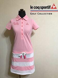 【良品】 le coq sportif GOLF ルコック ゴルフ ウェア ワンピース ドライ トップス サイズS 半袖 ピンク 白 デサント QGL1955