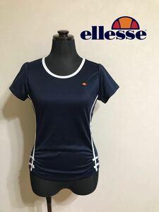 【美品】 ellesse エレッセ レディース テニスウェア ドライ Tシャツ トレーニングウェア トップス サイズS 半袖 ネイビー ゴールドウィン