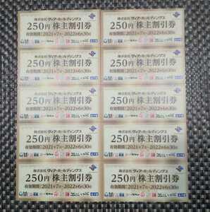 ▲最新 送料無料▲ ヴィア・ホールディングス株主優待券 2500円分(250円x10枚) 2022年6月30日期限