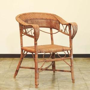 ジャパニーズモダン 竹 籐編みのアームチェア / 籐製 ひじ掛け 椅子 腰掛け ビンテージ 木工 工芸 古道具 ラタンチェア バンブーチェア