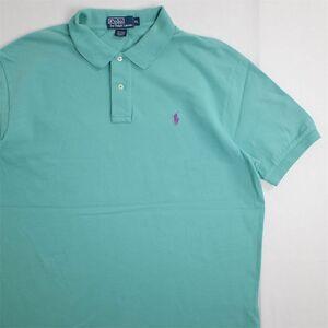 メンズUS-XLサイズ ポロラルフローレン Polo by Ralph Lauren 半袖鹿の子ポロシャツ グリーン系 ワンポイント 無地 as-0168n