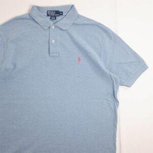 メンズUS-XLサイズ ポロラルフローレン Polo by Ralph Lauren 半袖鹿の子ポロシャツ ライトブルー系 ワンポイント 無地 as-0167n