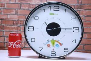 未使用! 掛け時計 温度計付き 2way電源 ウォールクロック 乾電池/ソーラーパネル eco style■(F3510)