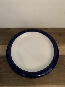 プレート お皿 ビンテージ 北欧風 小僧寿司 ストーンウェア 陶器 藍色 シンプル