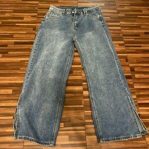 ストレートジーンズ 韓国ファッション サイドスリット パンツ サイズS M デニム