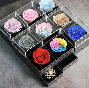 ドライフラワー ジュエリーボックス プロポーズ バレンタインデー 母の日 プレゼント ロマンチック 薔薇 ローズ バラ 告白 彼女 贈り物 272