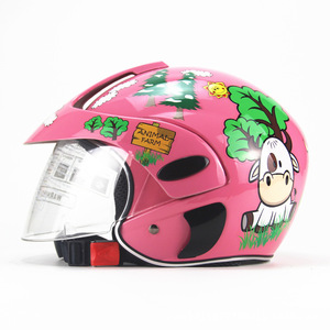 子供用ヘルメットバイクヘルメット 半キャブ ジェット ヘルメット 半帽 シールド付き