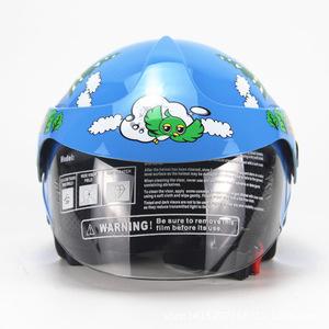 子供用ヘルメットバイクヘルメット 半キャブ ジェット ヘルメット 半帽 シールド付きブルー
