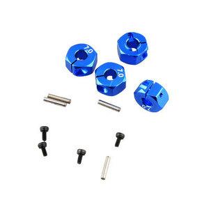 ☆1台分、厚さ7mm☆クランプ式 .アルミ ホイール12mm汎用ハブ(AXIALタミヤRC4WD京商SCX10TA01TA02TB01など汎用)青色 No.2056