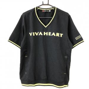 【超美品】VIVA HEART ビバハート 半袖ブルゾン 黒×ライトグリーン 織り生地 ポリエステル100% サイドジップ メンズ 52 ゴルフウェア
