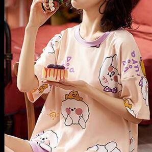 上下2点セット パジャマ ルームウェア 半袖 Tシャツ 短パン ショートパンツ かわいい レディース