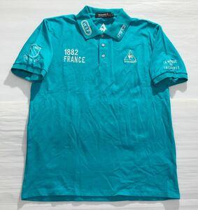 《le coq sportif GOLF ルコックゴルフ》ロゴ 1882 FRANCE 刺繍 コットン 半袖 ポロシャツ ターコイズブルー XL