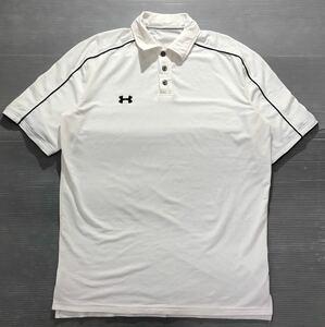 《UNDER ARMOUR アンダーアーマー》UA ロゴ刺繍 パイピングデザイン 半袖 ポロシャツ オフホワイト×ブラック