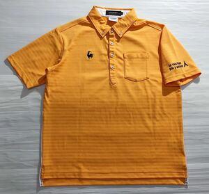 《le coq sportif GOLF ルコックゴルフ》ホワイトライン ロゴ刺繍 ボーダー織り柄 ボタンダウン 半袖 ポロシャツ オレンジ L
