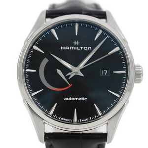【美品】ハミルトン ジャズマスター パワーリザーブ 自動巻き メンズ 腕時計 黒文字盤 裏スケ 純正革ベルト H32635731【いおき質店】