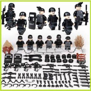 即決…新品 MOC LEGO レゴ ブロック 互換 SWAT 特殊部隊 アンチテロ部隊 カスタム ミニフィグ 6体セット 大量武器・装備・兵器付き D219
