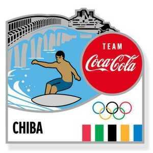【新品未使用】東京オリンピック2020 聖火リレー ピンバッジ 千葉県 サーフィン コカ・コーラ バッジ バッチ 海ほたる 五輪 ロゴ入り