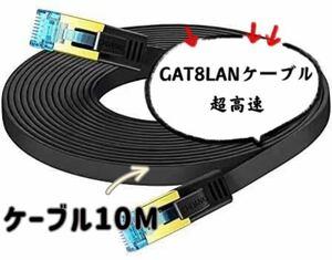 LANケーブル超高速 CAT8 40Gbps 2000MHz対応(10M) 断線防止