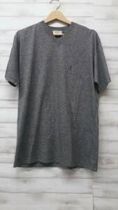 【未使用・タグ付】Yves Saint Laurent(YSL) イヴ・サンローラン メンズ半袖Tシャツ サイズLA Vネック グレー