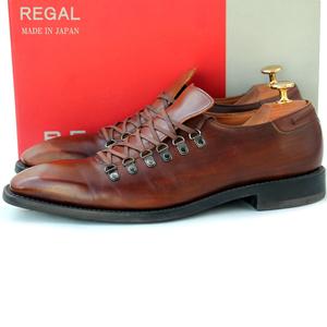 日本製★リーガル REGAL★ワークシューズ 25cm プレーントゥ レザー ビジネス メンズ ブラウン 紐靴 v-722