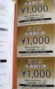 【送料無料】西武ホールディングス 株主優待券 共通割引券 10,000円分(1000円券 x 10枚) 西武HD