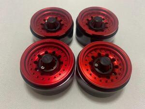 国内即納 赤4本1セット ビードロック 1.9インチ 高精度アルミホイール RCクローラー TRX4 SCX10 RC4WD CC02 アキシャル トラクサス タミヤ