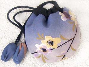 古布104小丸袋・ポーチ小物入れ・人形巾着・絹 ( 桜や牡丹・残り僅 ) 時代着物