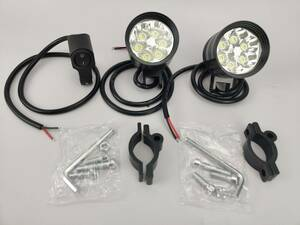 オートバイ/バイク ヘッドライト 補助灯 6連 ledフォグランプ ホワイト 2個入り 12V スポットライト プロジェクター バイク スイッチ*1