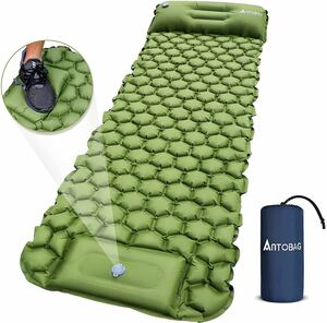 足踏み式 エアーマット 軽量 枕付き折畳み式 無限連結可能 幅広厚手 収納袋付き