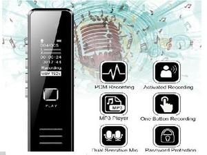 ボイスレコーダー ICレコーダー 録音機 MP3 電話録音機能 高音質 小型超軽量 高性能マイク内蔵 簡単操作 ブラック