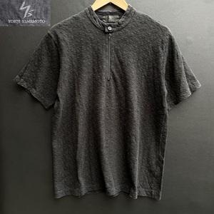 Y's ワイズ フォーメン Yohji Yamamoto ヨウジヤマモト 刺繍 生地 ハーフジップ 半袖 カットソー Tシャツ size 3 日本製 MY-T04-060