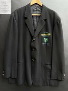 希少 1993ss Yohji Yamamoto POUR HOMME 90's ヨウジヤマモト デリバリーロゴ ウール ギャバ 3B テーラード ジャケット size S H0-J41-100