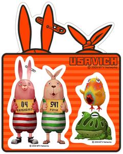 ウサビッチ 絶賛 USAVICH 防水ステッカー (小) ナンバースタンド MTVで絶賛 プーチンとキレネンコ 送料無料