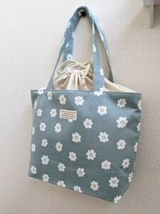 巾着付き トートバッグ くすみ 花柄 北欧 ハンドメイド