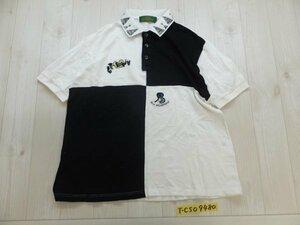 〈送料280円〉SEVE BALLESTEROS メンズ ロゴ刺繍 ゴルフ 配色切り替え 日本製 半袖ポロシャツ L 白黒