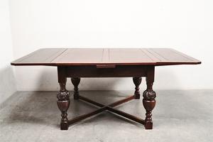 ant158 イギリス製 アンティーク 英国 1920's オーク材 伸長式 ドローリーフダイニングテーブル