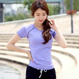 XL Tシャツ単品 紫 レディース ヨガウエア ランニングウェア 体型カバー トップス レディーストップス