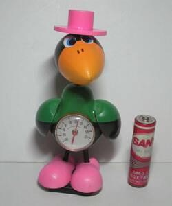 ピンクのハットと靴の カラス からす 首振り 木製 温度計 磁石付き Crow thermometer 昭和レトロ