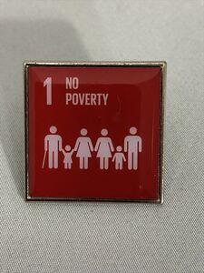 SDGsピンバッジ 1個(1540円税込・送料無料)「1. 貧困をなくそう( 1:No poverty)(国連ブックショップ購入) (再生素材使用) UN51