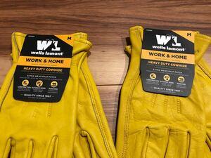 送料無料!匿名発送☆ ウェルズラモント 作業用革手袋 Mサイズ 牛革100% 2ペア 2組 バイク ハーレー