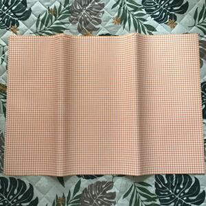 送料無料 包装紙 上質紙 75㎝×53㎝ 5枚 ギンガムチェック オレンジ ラッピング紙
